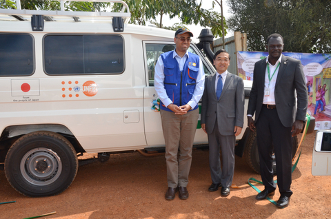 Photo: L – R: Daniel Alemu, UNFPA Rwanda Deputy Representative (L) , His Excellency Mr. Takayuki Miyashita (C), Ambassador of Japan to Rwanda, Bernard Ochieng (R) , American Refugee Committee Country Director.