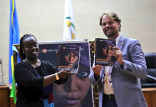 Photo: Hon. Dr. Diane Gashumba, Minister of Health and Mr. Mark Bryan Schreiner, UNFPA Representative to Rwanda launch State of the World Population Report 2019 report