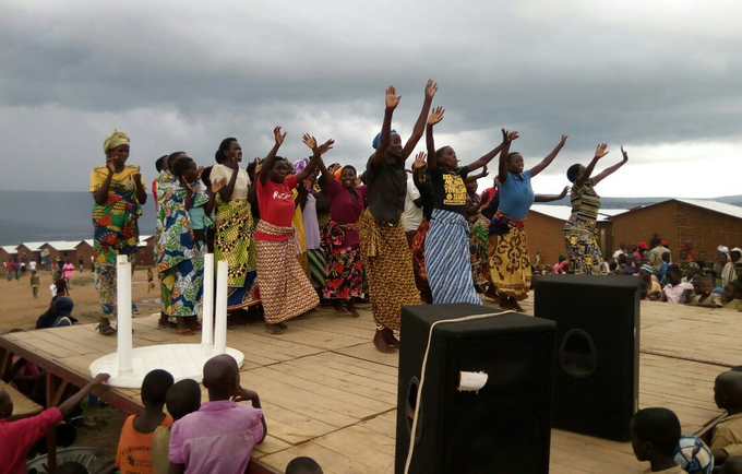 Burundian refugee women in their cultural dance during the launch of family planning in mahama camp