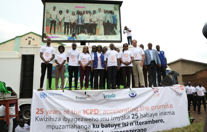 Photo: Partnerships for ICPD25 - Officials from UNFPA, UN Women, Parliamentarian, Mayor of Rusizi District, AfriYAN, key partners join Rwandans in celebrations of World Population Day in Rusizi District.