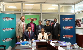 Photo: Front Hon. Rose Mary Mbabazi, Minister of Youth, H.E Amb. Kim Eung-joong, Ambassador of the Republic of Korea. Standing (L– R) Mark Bryan Schreiner, UNFPA Representative, Stephen Rodrigues, UNDP Resident Representative, Mr. Mr. Lee Byung Hwa, KOICA Country Director, Ms. Kampeta Sayinzoga, Director General, National Industrial Research and Development Agency, and Managing Director, Liquid Telecommunications during the signing ceremony