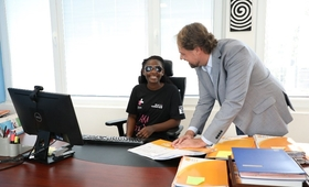 Photo: UNFPA Representative, Mark Bryan Schreiner in discussions to orient Anisie Byukusenge taking on a role of the Representative.
